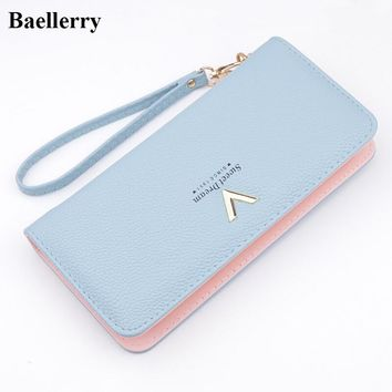 New Designer Leather Wallets Women Brand Zipper Long Coin Purses Money Bags Card Holders Clutch Wristlet Phone Wallets Female