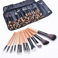 12Pcs Cosmetic Makeup Eyeshadow Powder Blush Foundation Brush Tool + Case  7_S