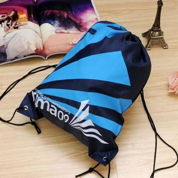 Navy Blue and Sky Blue Double Layer Drawstring Waterproof Gym Bag
