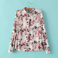 Pink Floral Print Long Sleeve Top