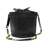 1990s Chanel Black Lambskin Drawstring Bucket Bag