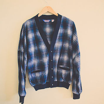 60's Vintage Pendelton Wool Flannel Plaid Cardigan Button Up Navy  Blue  Grey Men's Hipster Cozy Northwest  Preppy Size Men's Large
