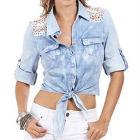Denim Acid Wash 3/4 Button Tie Front Top