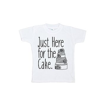 Custom Party Shop Girl's Here For The Cake Wedding T-shirt