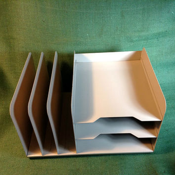 Vintage Metal Letter Tray Organizer For Desk Or Office Old Heav