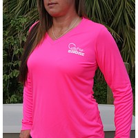 Signature Series Neon Pink V-Neck UPF Long Sleeve Shirt