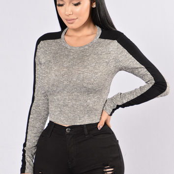 Building Blocks Top - Grey/Black