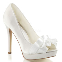 Ivory Frilled Peep Toe Pump