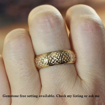 Diamond and Ruby Ring 14k Yellow Gold Celtic Wedding Band for Him or Her (Other Metals, Stone & Ring Engraving Available)