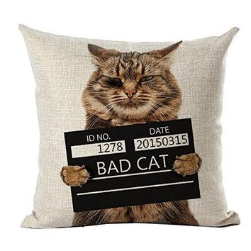 Wanted Bad Cat Decorative Pillow Cover Vintage Massage Car Pillow Fiber Zip DIY Linen Home Decor Gift 18''X18''
