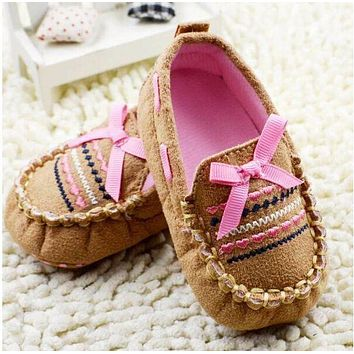 Baby Boy Girls Newborn Infant Crochet Soft Sole Shoes Kids Bottom Cotton Infantil Mocassins Anti-Slip Prewalker First Walkers