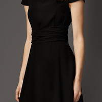 Satin-Backed Crepe Dress with Wrapped Waist