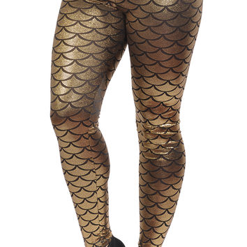 Gold Shiny Mermaid Leggings Design 214