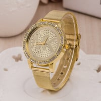 Stylish Gold Bracelet Watch Ladies Alloy Diamonds Bracelet Watch [6542126339]