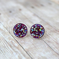 D A H L I A  - Burgundy Red Iridescent Chunky Sparkle, Faux Druzy, Silver Plated Stud Earrings, 10mm or 12mm