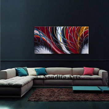 LARGE OIL PAINTING on Canvas, Handmade abstract Wall Art on Canvas, Impasto Red White Original Modern Style Office Decor by Nandita Albright