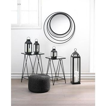 Geometric Design Wall Mirror, 4 Lanterns, and 2 Tables