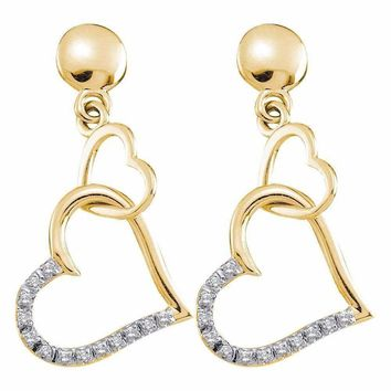 14kt Yellow Gold Women's Round Diamond Linked Hearts Dangle Screwback Earrings 1-10 Cttw - FREE Shipping (USA/CAN)