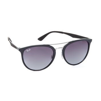 Ray-Ban Women's Round Brow Bar Aviator Sunglasses, Black/Grey, One Size