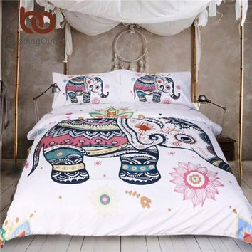 BeddingOutlet 3 Pcs Rainbow Mandala Elephant Duvet Cover Set