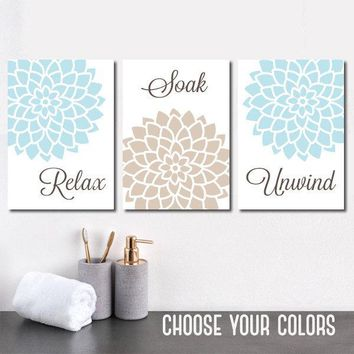 BATHROOM Wall Art, CANVAS or Prints, Floral Bathroom Decor, Aqua Beige Bathroom, Relax Soak Unwind, Bathroom Quotes, Set of 3 Wall Decor