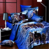 3D Bedclothes Wolf Leopard Tiger Lion Panda Flower 4pcs Bedding Sets King Or Queen Reactive Print