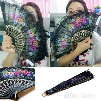 LMFUG3 Spanish Flower Floral Fabric Lace Folding Hand Dancing Wedding Party Decor Fan = 1946775748