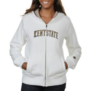 Kent State Golden Flashes Ladies Huddle Full Zip Sherpa-Lined Hooded Jacket - White