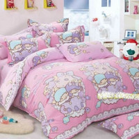 New 2017 Little Twin Stars Bedding Set Queen King Size 4pc PINK Cotton RARE   eBay