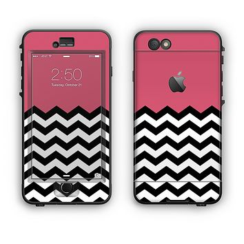 The Solid Pink with Black & White Chevron Pattern Apple iPhone 6 Plus LifeProof Nuud Case Skin Set