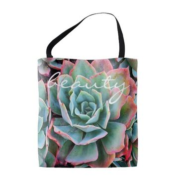 """""""Beauty"""" quote mint green cactus photo tote bag"""