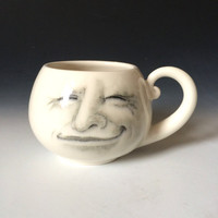 Man in the Moon Cup, White Porcelain Cup, Moon Cup with Hand Drawn Face, Fred