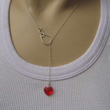 Lariat Y Nacklace, Swarovski Red Crystal Heart Necklace, Dainty 14k Gold Fill or Sterling Silver, Layering Necklace, Delicate Love Jewelry