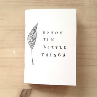 Handprinted Mini Notebook with Leaf made with Recycled Paper and staple bound