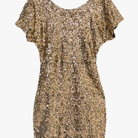 Gold Sequin Bat Cut-Out Sleeve Mini Dress