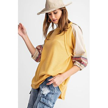 Mustard Thermal Top with Embroidered Sleeves