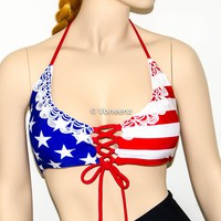 American Flag Reversible Lace-Up Corset Triangle Halter Bikini Top, Adjustable Peek-a-Boob Triangle Swimwear, 4th Of July Bikini