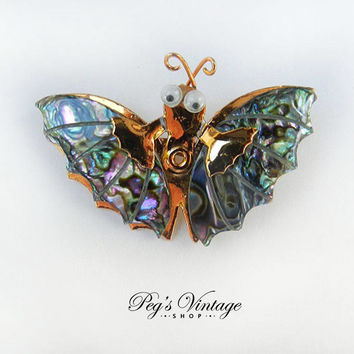 Vintage Abalone Shell Butterfly Brooch Pin,  Vintage Insect Jewelry