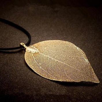 womens 18k gold leaf pendant necklace gift 91  number 1