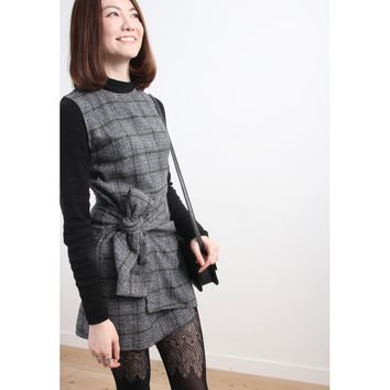 Houndstooth Wooly Wrap Dress