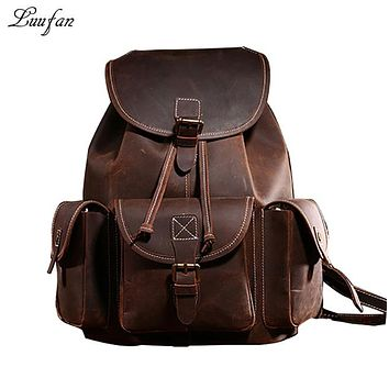 Crazy Horse Genuine Leather backpack Men Big Vintage Cow Leather Laptop Rucksack Bag Real Leather School Bag Durable Man Daypack