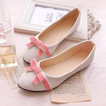 Beige Point Toe Flat Bow Casual Ankle Shoes