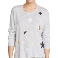 SUNDRY Heather Grey Stars Sweater