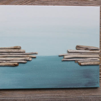 Driftwood Wall Art , Original Acrylic Painting For The Beach House U0026  Coastal Spaces , Reclaimed