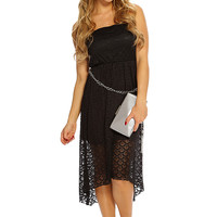 Black Strapless Netted High Low Hem Cute Party Sun Dress