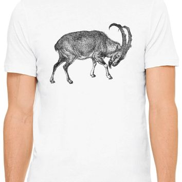 Austin Ink Apparel Ibex Mountain Goat Short Sleeve Premium Cotton Fitted Unisex Mens T-Shirt