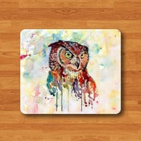 OWL Watercolor ART Painting Mouse Pad Mat Messy Drawing Printed MousePad Desk Deco Vintage Gift Computer Pad Personal Colorful New Year Gift
