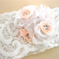 Lace Wedding Garter White and Peach, Bridal Garter, Vintage Garter, Stretch Garter, Swarovski Garter, Flower Garter, Prom Garter, Salmon