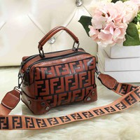 Fendi Fashion New More Letter Leather Leisure Shopping Shoulder Bag Women Brown