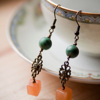 Zoisite, Red Aventurine, and Bronze Dangle Earrings